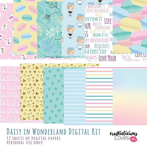 Daisy in Wonderland - Digital Papers