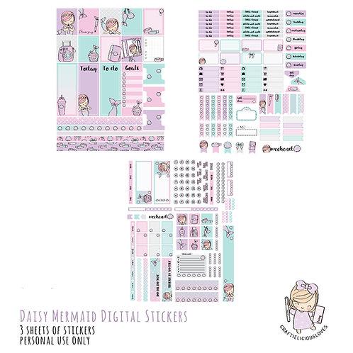 Daisy Mermaid Stickers (with Hobonichi Size)