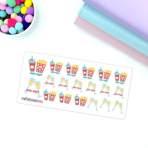 Date night kawaii stickers