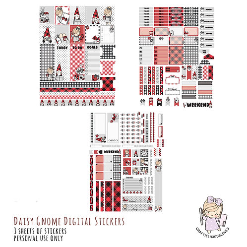 Daisy Gnome Stickers (with Hobonichi Size)