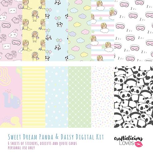 Sweet Dream Panda and Daisy - Digital Papers