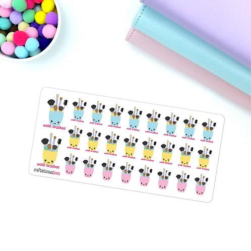 Wash brushes kawaii stickers