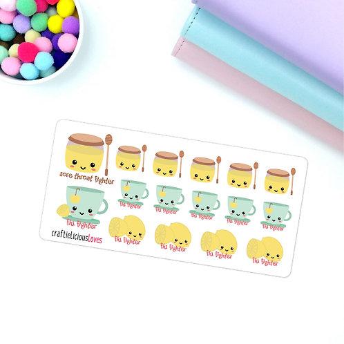 Flu fighters kawaii stickers