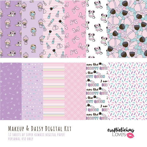 Makeup and Daisy - Digital Papers