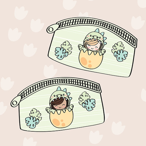 Dino Daisy pouch (two skin tones)