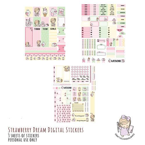 Strawberry Dream Stickers (with Hobonichi Size)