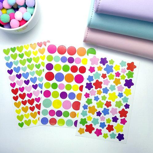Basic shape pre-cut sticker set