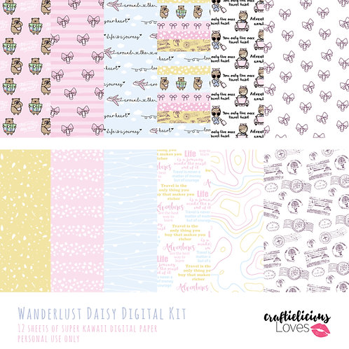 Wanderlust Daisy - Digital Papers