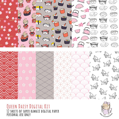 Sushi Love Daisy - Digital Papers