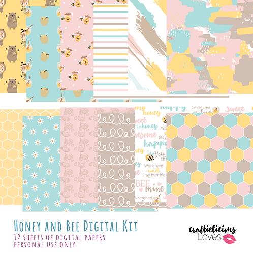 Honey and Bee - Digital Papers