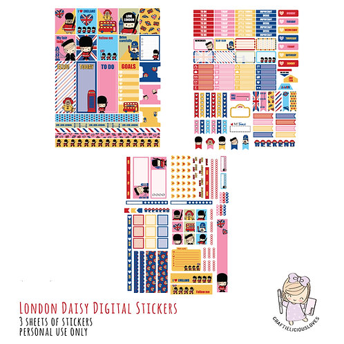 London Daisy - Stickers (with Hobonichi Size)