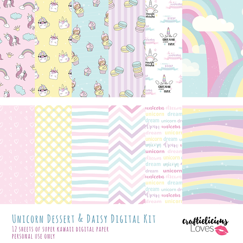 Unicorn Dessert and Daisy - Digital Papers