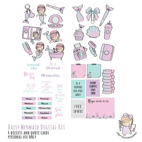 Daisy Mermaid - Die Cuts and Cards