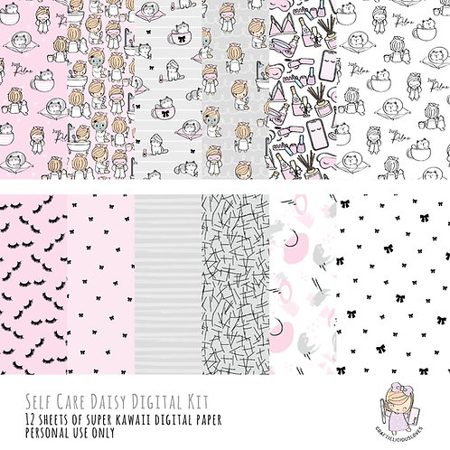 Self Care Daisy - Digital Papers