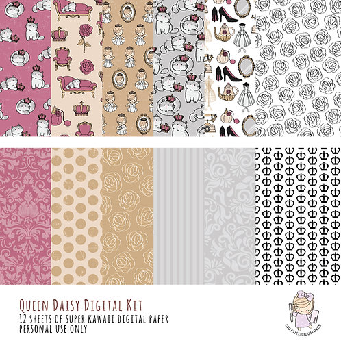 Queen Daisy - Digital Papers