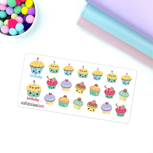 Birthday cupcake kawaii stickers