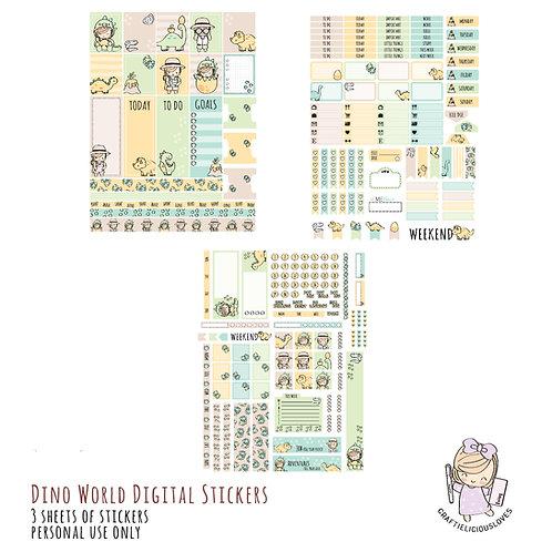 Dino World Stickers (with Hobonichi Size)