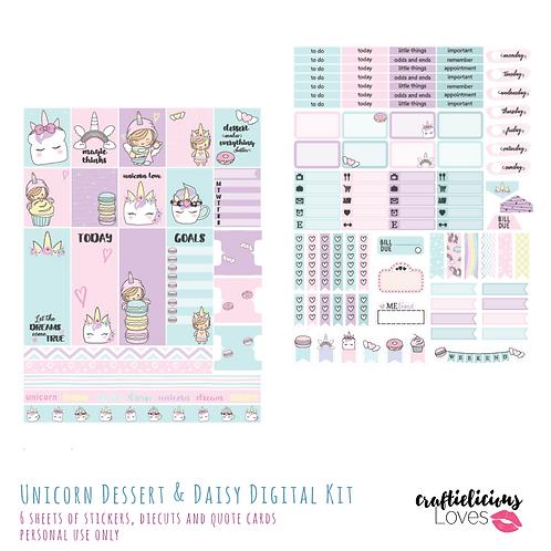 Unicorn Dessert and Daisy - Stickers