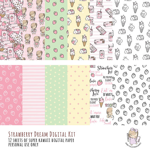 Strawberry Dream - Digital Papers