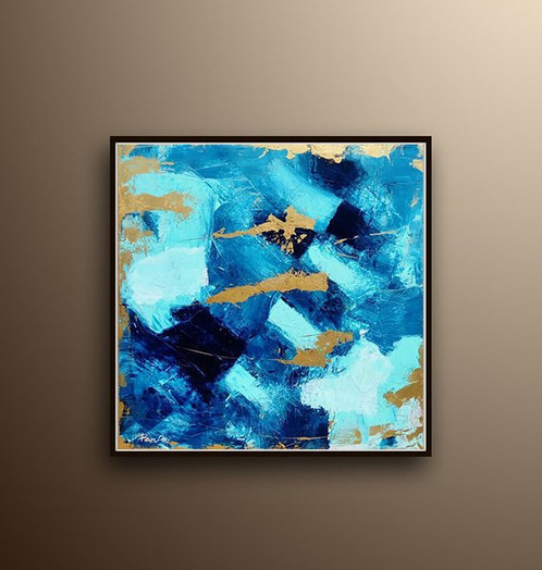 Gold Leaf Painting Abstract Blue Art Ron Deri