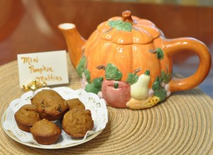 Mini Buttermilk Pumpkin Muffins…a fall tea party favorite…