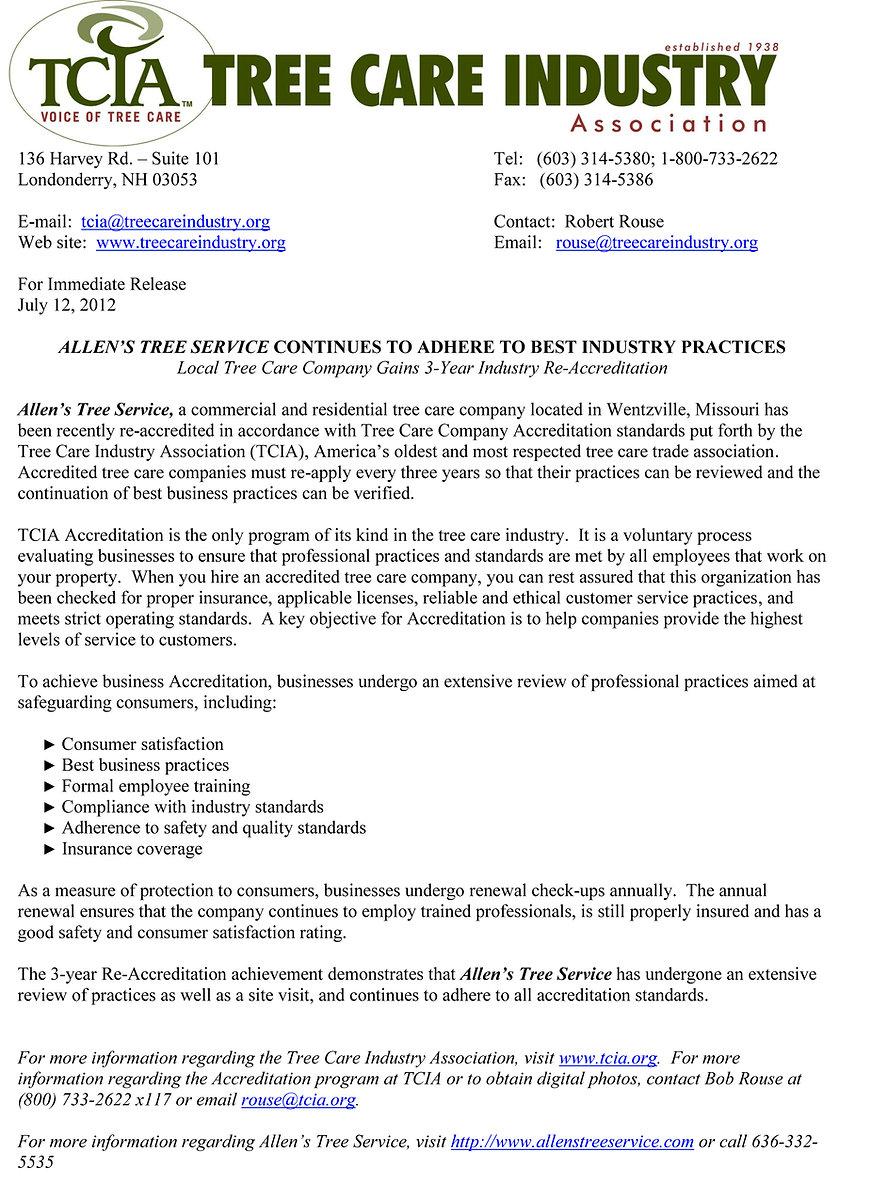Allen's Tree Service TCIA Accreditation