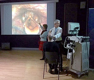 Nasendoscoy for singer in a voice clinic to examine the singer's vocal folds and vocal tract for disorders or injuries like nodules, polyps, cysts, sulcus, muscle tension dyshphonia or poor singing technique.