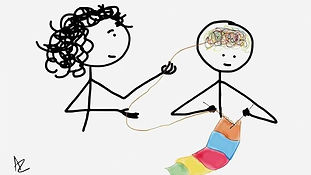 A person unwravelling thoughts that another person is knitting with