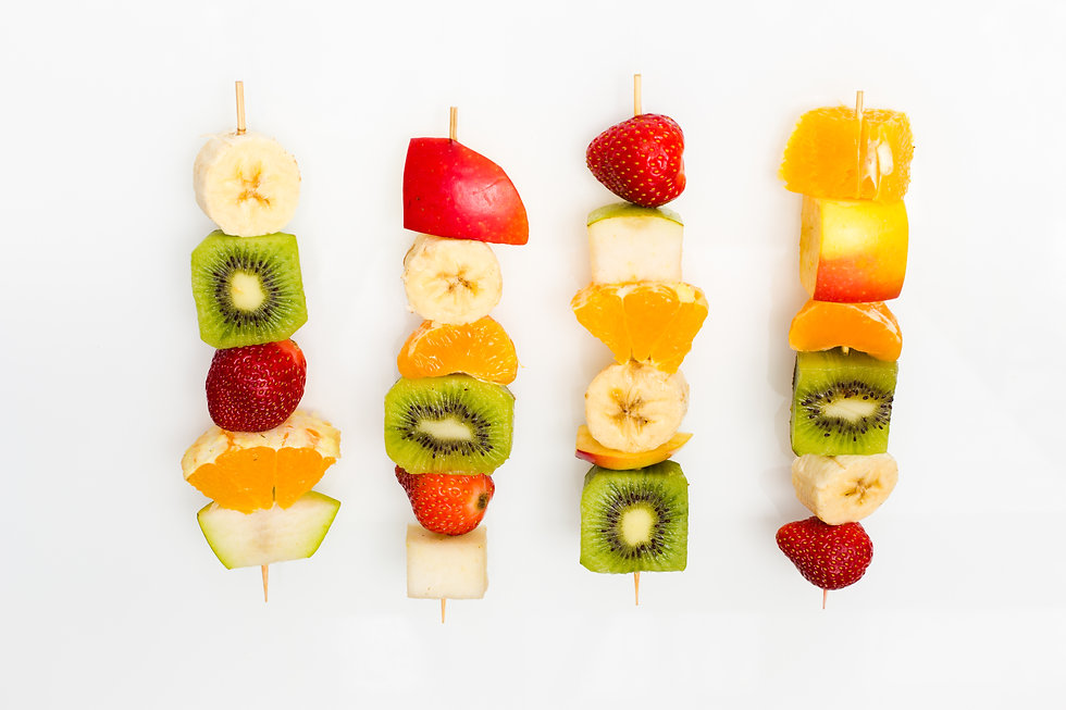 fruit skewers the concept of healthy eat