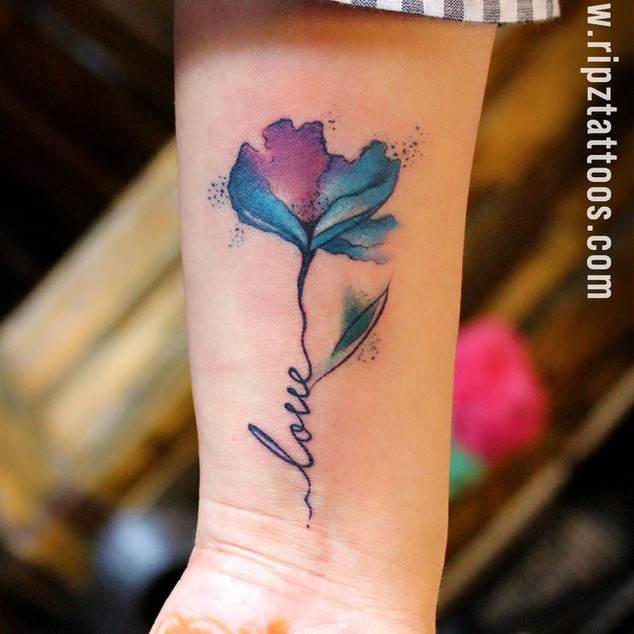 Watercolor Tattoo Flower with script