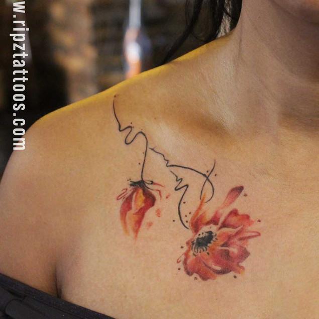 Minimal Watercolour Flower Tattoo at Ripz