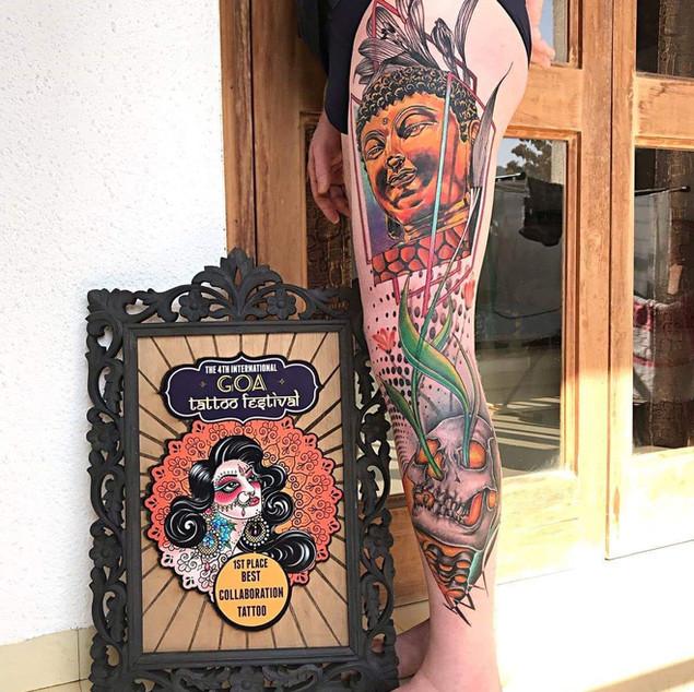 Leg Colour Tattoo | Ripz Tattoo