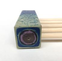 Detail kopse kant-Blauw en geel