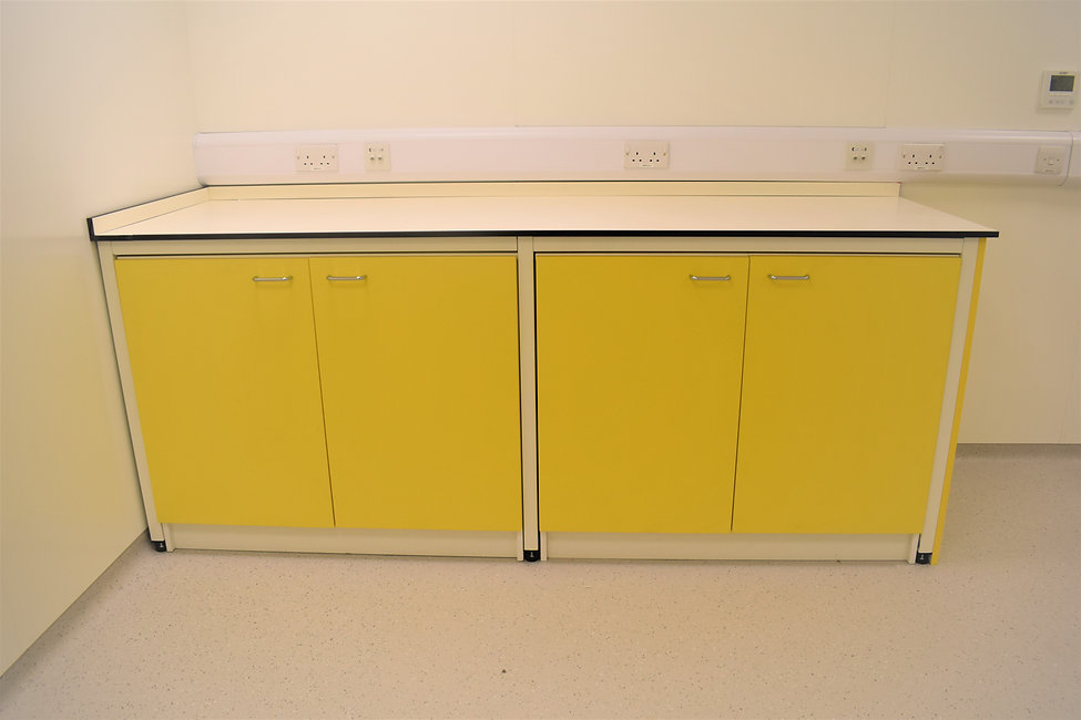 Fixed Double Cupboards under metal frame