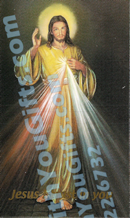 Divine Mercy Holy Card, English