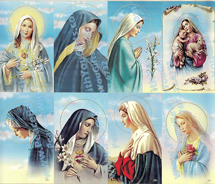 Madonna Holy Card, 8 Designs