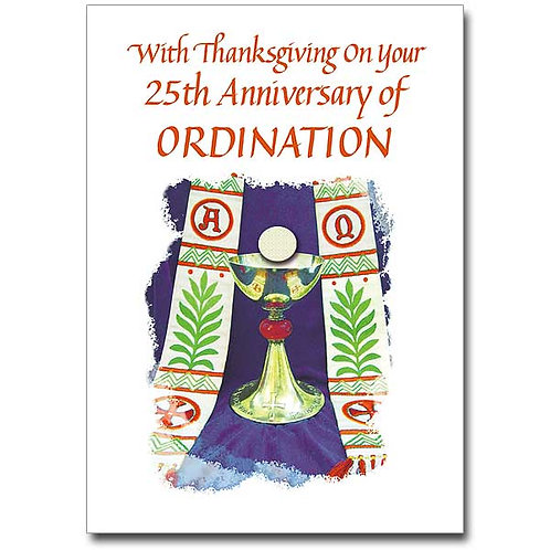 With Thanksgiving on Your 25th Ordination Anniversary Card
