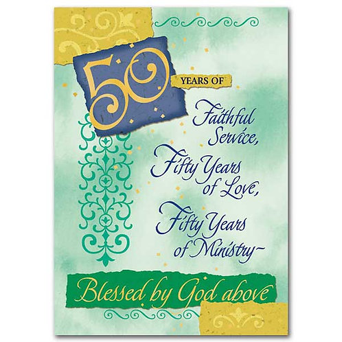 Fifty Years of Faithful Service... 50th Ordination Anniversary Card