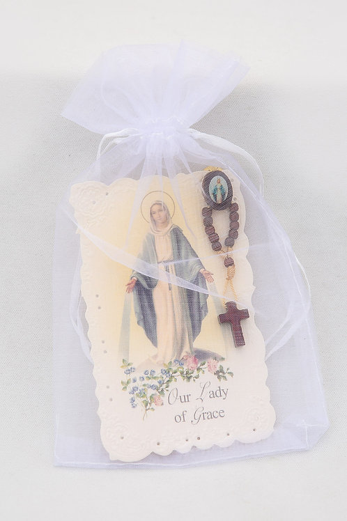 Our Lady of Grace Holy Card & Rosary Pin Set