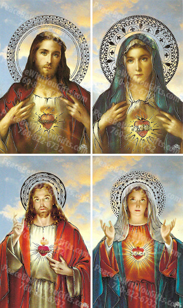 Sacred Heart of Jesus/Immaculate Heart of Mary Holy Card, 4 Designs