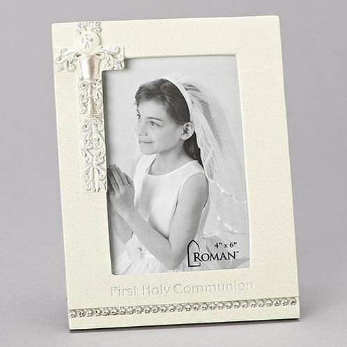 Communion Frame 4x6 Silver Scroll