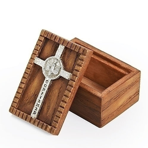 Confirmation Wood Box with Silver Cross