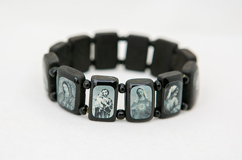 Saints Wood Bracelet, Black