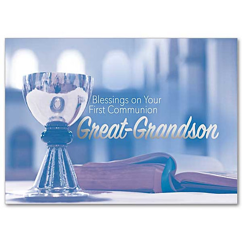 Blessings on Your First Communion, Great-Grandson Card