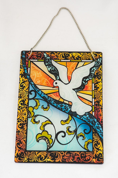 Holy Spirit Dove Stained Glass with chain