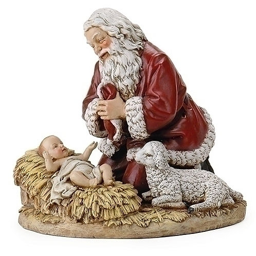 "Kneeling Santa with Lamb Figure, 8"" or 13"""