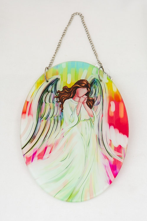 Angel Oval Stained Glass with chain