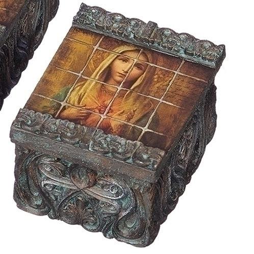 Tile Art Immaculate Heart Keepsake Box
