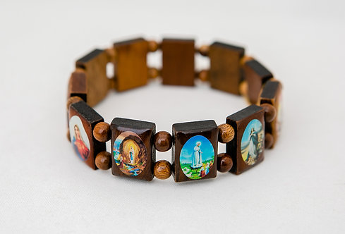 Blessed Mother Mary Wood Bracelet