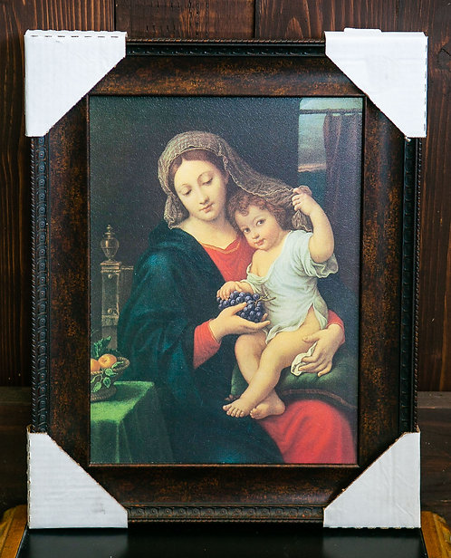 Madonna of the Grapes, Jesus and Mary, Frame